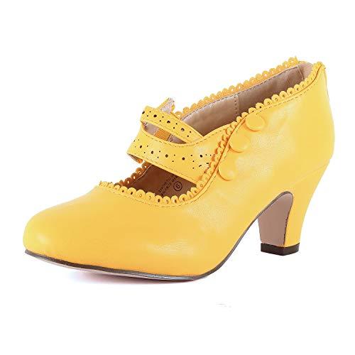 Chase & Chloe Women's Mina-4 Wing Tip Heel Oxford Pump (Yellowv2 Pu, 5.5 M ()