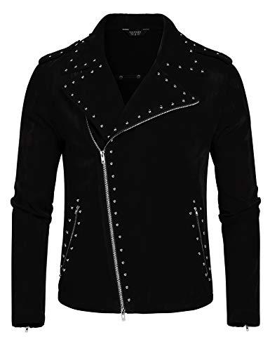 COOFANDY Men's Velvet Rivet Design Punk Rock Motorcycle Biker Jacket Zipper Coat(Black,L) (Best Quality Motorcycle Jackets)