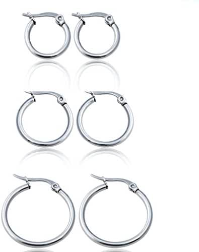 Jstyle Jewelry 3-4 Pairs Women's Cute Small Hoop Earrings Stainless Steel