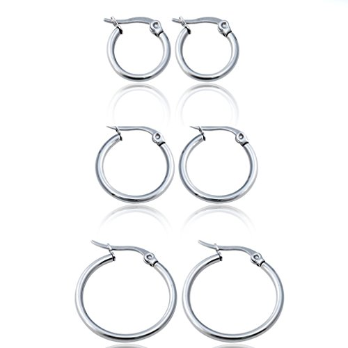 Jstyle Jewelry Women's Cute Small Hoop Earrings Stainless Steel 3 Pairs a (3 Pair Set)