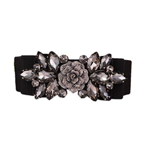 Floral Belt (Dorchid Women's Retro Belts Floral Crystal Interlocking Waistband)