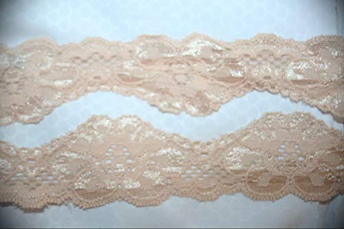 (2 Yards Light Pale Baby Pink Shiny Stretch Lingerie Sewing Assorted Pattern Lace Ribbon Trim 1.5