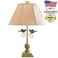 AHS Lighting L1610-U1 Fly Away Together Decorative Accent Lamp Beige Shade Green Polyresin for End, Side Tables, Shelves, Living Room
