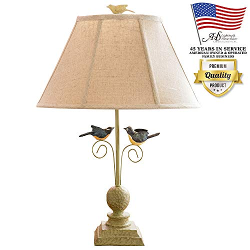 Bird Table Lamp - AHS Lighting L1610-U1 Fly Away Together Decorative Accent Lamp Beige Shade Green Polyresin for End, Side Tables, Shelves, Living Room