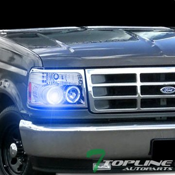 Topline Autopart 10000K Hid Xenon with Chrome Halo Projector Headlights Parking 92-96 Ford F150 / F250/ (92 93 94 Headlight Covers)