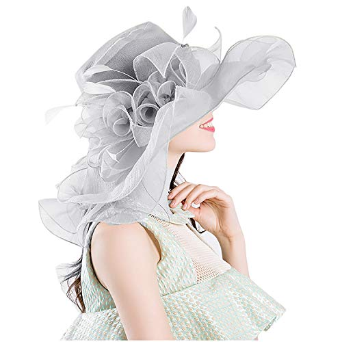 Bellady Womens Kentucky Derby Hats Cocktail Tea Party Bridal Dress Church Hat,Gray Derby Hats]()