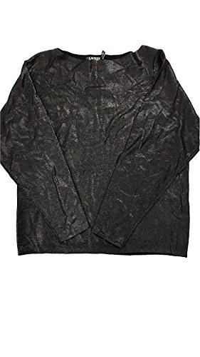 LAUREN RALPH LAUREN Womens Shimmer Boat Neck Pullover Sweater Black XL (Sweater Shimmer)
