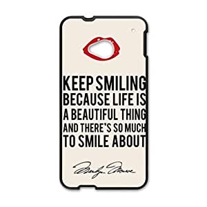 SANLSI Marilyn Monroe Keep smiling Quote Cell Phone Case for HTC One M7