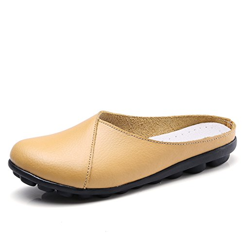 (MAIERNISI JESSI Women's Casual Flat Slip On Loafer Slippers Shoes Earth Yellow 44 - US 10)