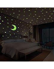 Pegatinas De Pared De GLEADING De Estrellas Y Luna Que Brillan En La Oscuridad,Ideales Para Cuartos De Bebés Y Niños, Habitaciones O Como Regalo De Cumpleaños