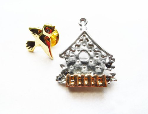 [Danecraft Silver - Plated Pair of Two (2) Birdhouse and Bird Pin Brooch] (Oriole Bird Costume)