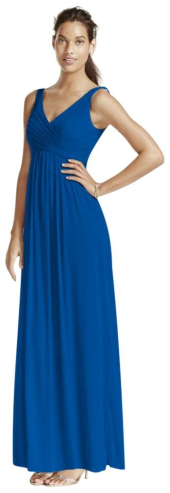 Long Mesh Bridesmaid Dress with Cowl Back Detail Style F15933, Horizon, 16 by David's Bridal