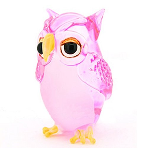 Lampwork COLLECTIBLE MINIATURE HAND BLOWN Art GLASS Single Owl Pink FIGURINE ( by Ayutthaya shop - Glass Blessings Bowl