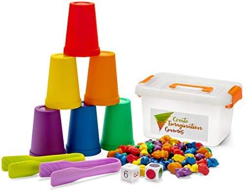 [해외]상상력을 창조하는 게임 무지개 곰팡이 학습 장난감 색깔이 있는 곰 컵 큐브 집게 및 보관 상자 - 교육용 카운팅 및 스태킹 게임 - 유치원 어린이 조기 / Create Imagination Games Counting Bears for Toddlers Stacking and Sorting Game with Mat...