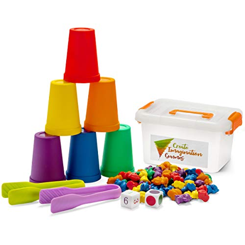 Create Imagination Games Counting Bears for Toddlers Stacking and Sorting Game with Matching Bears, Cups, Dice and Tweezers,Preschool Learning Toys for Boys and Girls