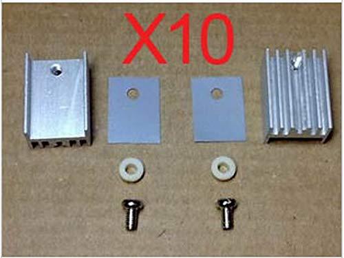 Screw+Washer+Insulator Rubberized Silicone+ Heatsink New 10 Sets TO-220 Heatsink TO-126 Transistor Heat Sink atural Aluminium