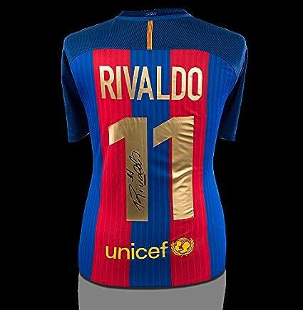 big sale 8d6ec 86215 Rivaldo Back Autographed Signed Modern FC Barcelona Home ...