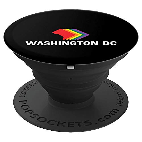 Washington DC Map Gay Pride Rainbow Gift PopSockets Grip and Stand for Phones and Tablets