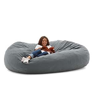 Big Joe XXL Fuf Foam Filled Bean Bag Chair, Comfort Suede, Steel Grey