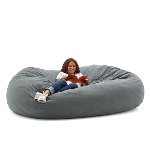 Big Joe XXL Fuf Foam Filled Bean Bag Chair, Comfort Suede, Steel Grey by Big Joe