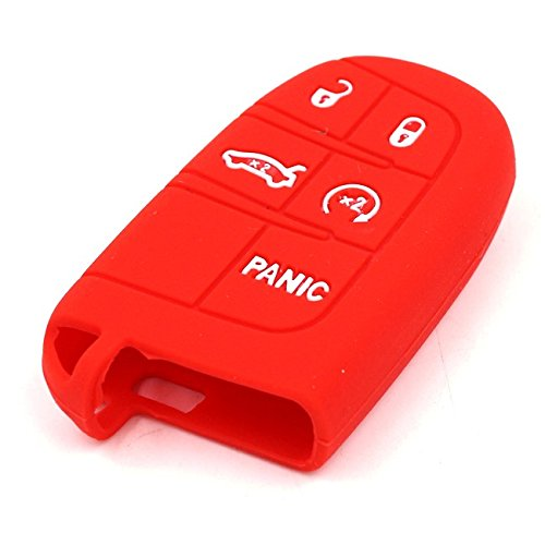 Silcone Skin (Alpha Racing Red Smart Keyless Remote Silicone Skin Case Cover for JEEP FIAT DODGE CHRYSLER (Version)