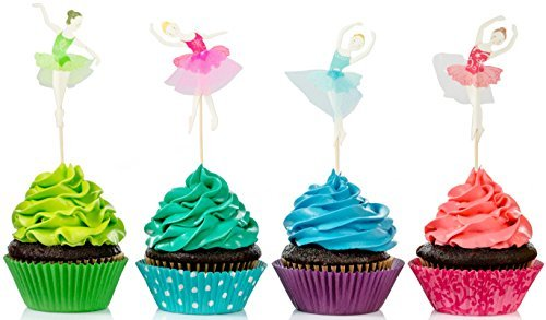Price comparison product image Alchik Ballerina Cupcake Toppers (24-Pack) – Dessert Birthday Decorations,  Party Favors – Cute Baking Supplies in Multiple Colors – Baby and Bridal Showers and Wedding Decor