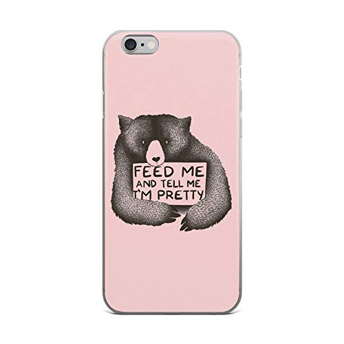 iPhone 6 Plus/6s Plus Pure Clear Case Cases Cover Give Me Food and Tell Me I'm Pretty Cute Bear Saying