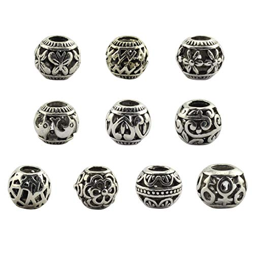 Tegg 20 PCS Spacer Beads Antique Silver Tone Loose Beads Hollow Filigree Large Hole Beads for Jewelry Making Bracelets - Bracelet Heart Scroll