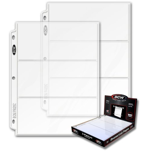 BCW 3 Boxes (300 Pages) - Pro 3-Pocket Coupon Storage Pag...