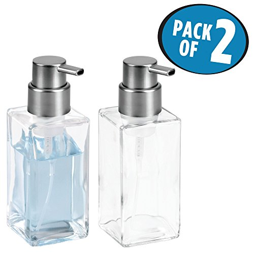 e Glass Refillable Foaming Hand Soap Dispenser Pump Bottle for Bathroom Vanities or Kitchen Sink, Countertops - Pack of 2, Clear/Brushed Black Nickel ()