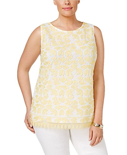 Charter Club Plus Size Lace-Front Tank in Yellow & Bright White (1X) from Charter Club