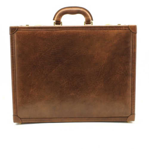 CUSTOM PERSONALIZED INITIALS ENGRAVING Tony Perotti Mens Italian Bull Leather Venezia Leather Attache Case with Dual Combination Lock, Laptop Compatible in Brown by Tony Perotti