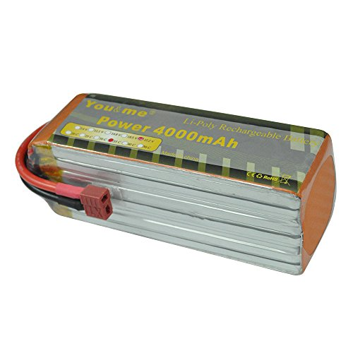 Youme 6s 22.2V 4000mah RC Lipo Battery Pack 35C - 70C Deans T Plug Connector Goblin Align Gaui Fixed-Wing RC Helicopter Airplane 70mm EDF JetYak 130,Yak 90 Quadcopter (5.31x1.65x1.97inch 1.36lb)