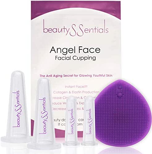 Facial Cupping Set for Glowing Skin - Anti Aging Face Cupping Set to Reduce Fine Lines & Wrinkles - Best Silicone Cupping Therapy Set, Bonus Facial Cleansing Brush & Travel Pouch