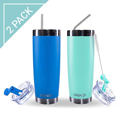 Drinco – Stainless Steel Tumbler Vacuum Insulated Coffee Travel Mug With Straw Spill Proof Lid For Hot & Cold Drinks |Teal Blue| BPA Free | 20 oz 2 pack