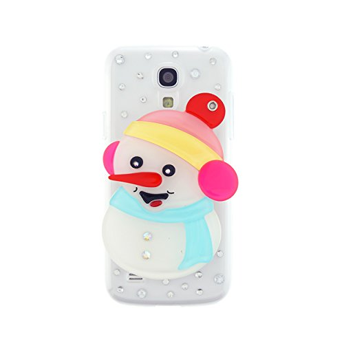 CaseBee® Christmas Series - Cute 3D White Snowman w/ Mirror Samsung Galaxy S4 mini i9190 Case - Handmade Bling Bling Rhinestones - Perfect Gift (Package includes Extra Crystals & Screen Protector)