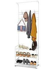 alvorog Kapstok, kledingrek, garderobe met schoenenrek, 3 planken met 16 haken tot 30 kg, metaal, wit, zwart, 65 x 30 x 180 cm