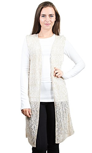 Knit Minded Junior's Sleeveless Pointelle Cardigan Duster, Sand, ()