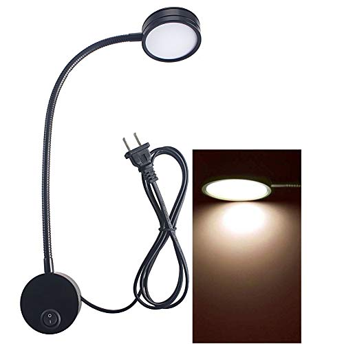 Wall Mounted Reading Light Lamp Flexible Gooseneck Bedside Reading Light for Headboard Reading Workbench Studio 5 Watts