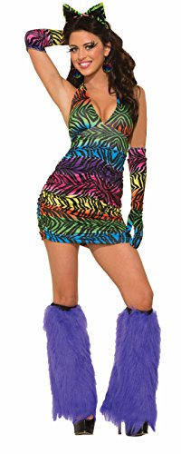 Forum Novelties Women's Party Animal Sexy Rainbow Zebra Halter Dress, Multi, One Size