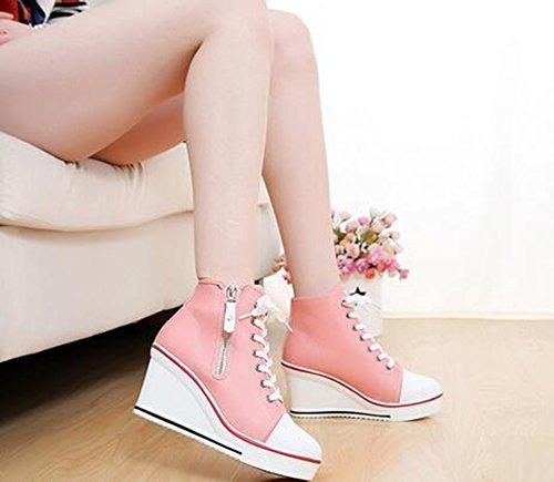 Lona Zapatillas color otoño Caminar Tacón cremallera Zapatos Cordones Tamaño Casual 35 Mujer Primavera Para Rosado De Deporte Cuña Con Exteriores tqSgcSE