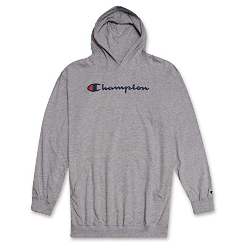 (Champion Mens Big and Tall Long Sleeve Pullover Jersey Lightweight Hoodie, Heather Grey LT)