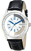 Stuhrling Original Men's 946.01 Winchester Quartz Stainless Steel Transparent Dial Black Leather Watch