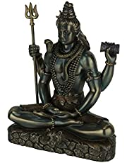 """Veronese Design Lord Shiva in Lotus Pose Statue Sculpture - Hindu God and Destroyer of Evil Figure 6.2"""" Tall"""