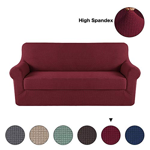 Back 3 Three Seat Sofa - Turquoize Stretch Sofa Covers for 3 Seat Couch Slipcover Knit Spandex Stretch Sofa Slipcovers 2 Pieces with Separate Cushion Cover (Sofa,Wine)