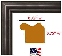 20x30 Satin Black .75 Inch wide Moulding Real Solid Wood Wall Decor Picture Poster Frame