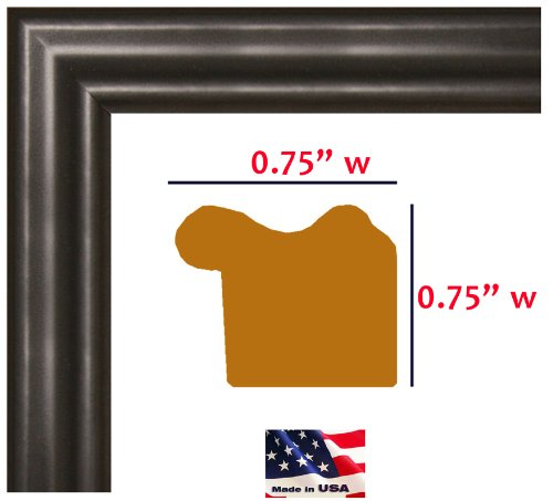 US Art 20x30 Satin Black .75 Inch wide Moulding Real Solid Wood Wall Decor Picture Poster Frame by US Art