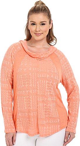 Marika Curves Women's Plus Size Arya Cowl Long Sleeve Hoodie Heather Crisp Peach Sweatshirt