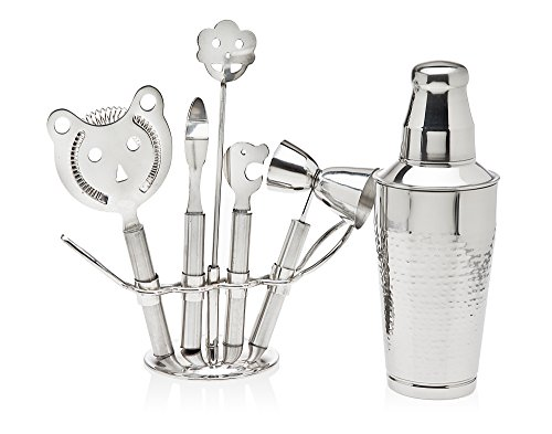 Godinger Silver Art 7-piece Hammered Stainless Steel Animal Design Bar Set With Cocktail Shaker And Tools in Metal Stand