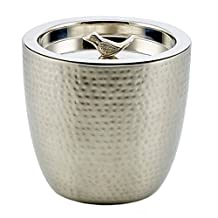 "Old Dutch ""Churp"" Hammered Double Walled Stainless Steel Ice Bucket with Bird Knob, 11/2 quart"